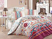 Комплект постельного белья HOBBY Poplin Francesca бордовый евро комплект