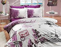 Комплект постельного белья HOBBY Poplin İst.Panorama сиреневый евро комплект