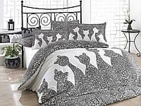 Комплект постельного белья HOBBY Poplin Jazz серый евро комплект