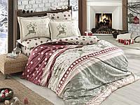 Комплект постельного белья HOBBY Poplin Ludovica бордовый евро комплект