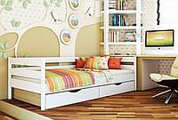 Кровать Нота тм Эстелла 90х190/200, цвет №107 Белый акрил, Фасад+ящики ДСП (Массив)