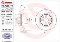 Тормозной диск передний Brembo 08.A268.10 для Dacia Logan (Ls) 09.2004+