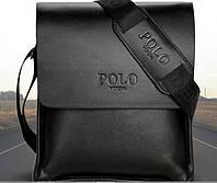 Мужская стильная кожаная сумка POLO (черная 27*23). Сумка-планшетка - сумка через плечо.