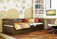 Кровать Нота тм Эстелла 90х190/200, цвет №101 Тёмный орех, Фасад+ящики деревянные (Массив)