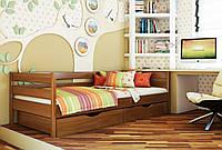 Кровать Нота тм Эстелла 90х190/200, цвет №103 Светлый орех, Фасад+ящики деревянные (Массив)