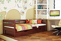 Кровать Нота тм Эстелла 90х190/200, цвет №104 Красное дерево, Фасад+ящики деревянные (Массив)