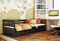 Кровать Нота тм Эстелла 90х190/200, цвет №106 Венге, Фасад+ящики деревянные (Массив)