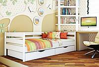 Кровать Нота тм Эстелла 90х190/200, цвет №107 Белый акрил, Фасад+ящики деревянные (Массив)