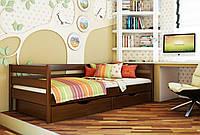 Кровать Нота тм Эстелла 90х190/200, цвет №108 Каштан, Фасад+ящики деревянные (Массив)