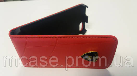 Чехол-флип для Apple iPhone 5, 5S Lamborghini (красный, голубой)