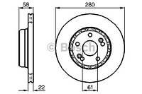 Тормозной диск передний Bosch 986478280 для Renault Espace Ii (J/S63) 01.1991-10.1996