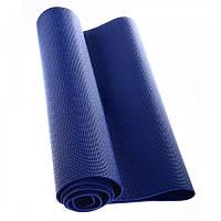 """Коврик для фитнеса 8мм """"Yoga mat"""" (синий, фиксирующая резинка)"""
