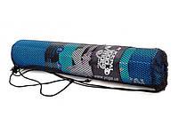 """Коврик для фитнеса 4 мм с чехлом """"KEPAI"""" Yoga mat (фиолет, синий)"""