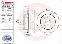 Тормозной диск задний Brembo 08.A108.10 для Toyota Camry (Mcv3, Acv3, Xv3) 09.2002-11.2006