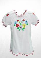 Біла вишита футболка для дівчинки