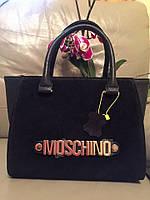 Стильная женская сумка MOSCHINO натуральная замша и эко кожа, размер 34*24 см. Цвет черный