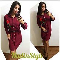 Женское модное платье-рубашка с вышивкой (2 цвета), фото 1