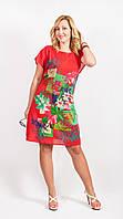 Платье женское красного цвета с цветами