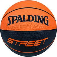 Мяч баскетбольный резиновый №7 SPALDING  STREET SOFT (резина, бутил, черно-оранжевый)