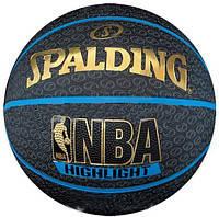Мяч баскетбольный резиновый №7 SPALDING HIGHLIGHT BLUE Outdoor (резина, бутил, черно-синий)