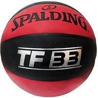 Мяч баскетбольный резиновый №7 SPALDING  (резина, бутил, черно-оранжевый)