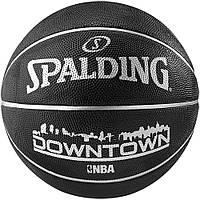 Мяч баскетбольный резиновый №7 SPALDING DOWNTOWN (резина, бутил, черный)