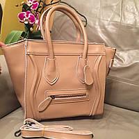 Стильная женская сумка Celine материал натуральная кожа размер 33*25 см, с длинной ручкой. Цвет пудра