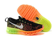 Мужские кроссовки Nike air max flyknit Black/Green/Orange