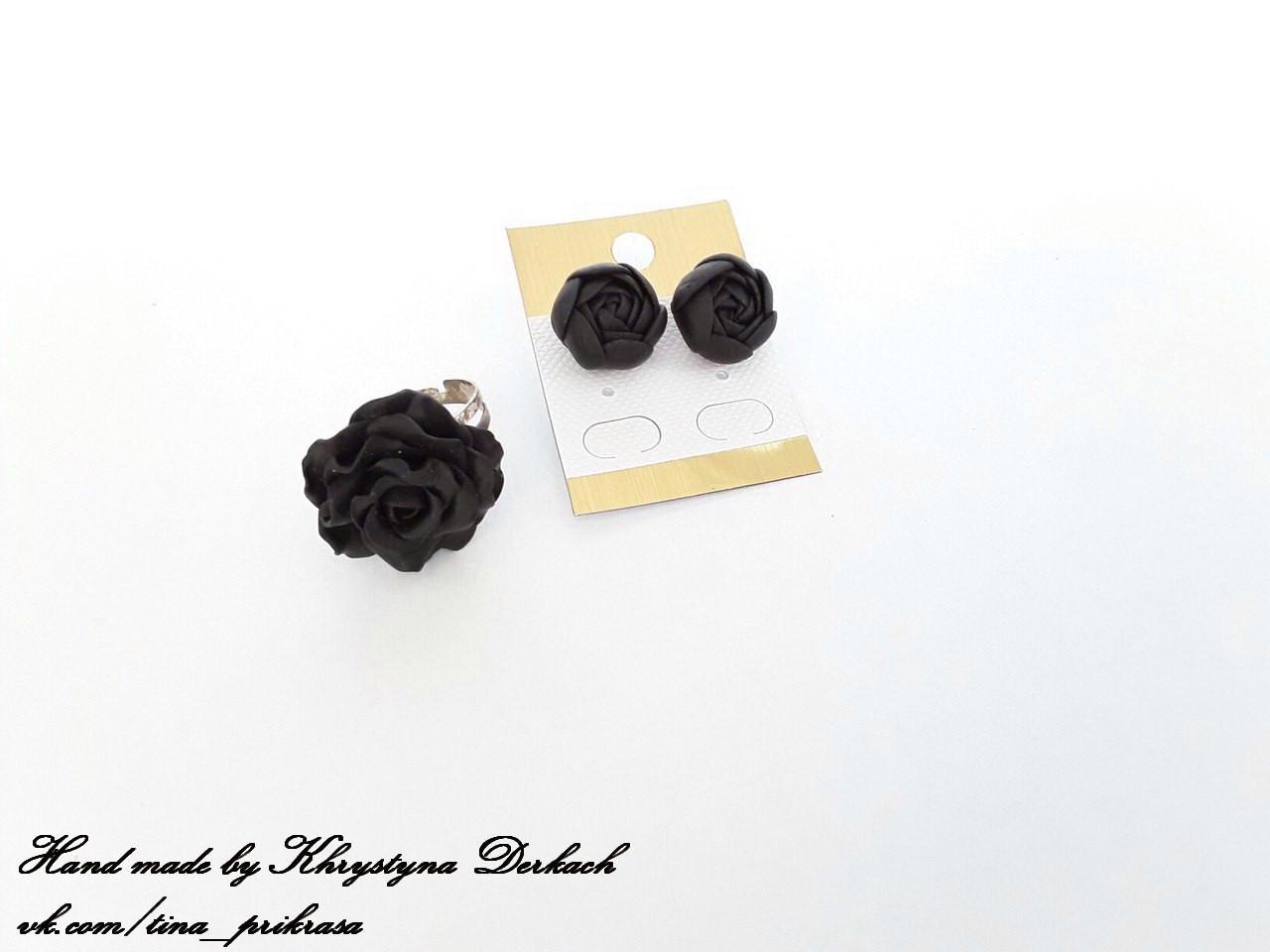 Набір комплект Квітка сережки і кільце квіти чорні чорний колір Hand made