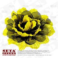 Заколка желтый цветок с черным фатином, брошь
