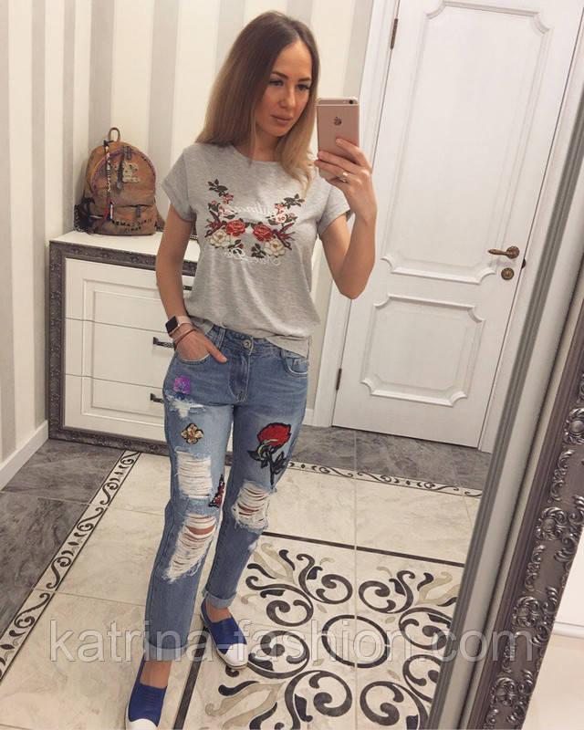 Купить джинсы рваные с вышивкой