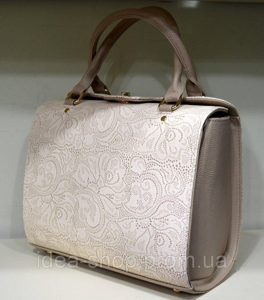 Женская лаковая сумка бежевый принт