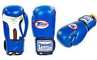Перчатки боксерские на липучке TWINS (р-р 10-12oz, синий)