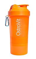 Шейкер Ostrovit Neon 400 мл + 2 контейнера оранжевый/orange