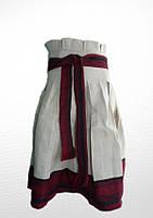 Спідниця вишита на дівчинку, сірого кольору з червоною вишивкою.