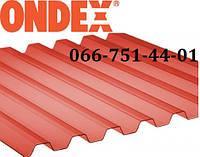 Прозрачный ПВХ шифер красный Ондекс 1,095х2,5 м