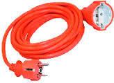 Шнур УШ-01РВ помаранчевий з круглою вилкою і розеткою 2P+PE 3х1/5метрів  ІЕК