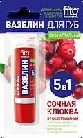 Вазелин для губ Сочная клюква от обветривания ТМ ФИТО косметик 4,5г