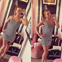 """Женское платье-майка """"MINI""""  полосатое стиль морячка"""