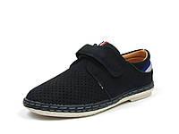 Школьные туфли-мокасины детские на мальчика, нубук, размеры 34