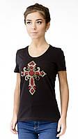 """Футболка женская с аппликцией """"Cross"""" из блесток.Модный глубокий вырез,усиленный плечевой шов, фото 1"""