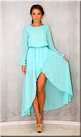 Платье шифоновое впереди короткое со шлейфом