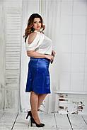 Женская нарядная блуза больших размеров 0430 цвет молочный размер 42-74, фото 2