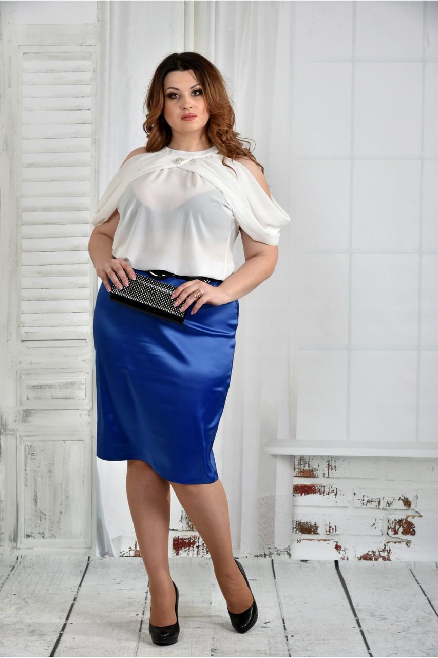 Женская нарядная блуза больших размеров 0430 цвет молочный размер 42-74