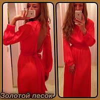 Платье шифон в пол вертикальный разрез на спине
