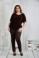 Женская легкая блуза больших размеров 0429 цвет шоколад размер 42-74