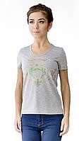 """Футболка женская с аппликцией """"Owl"""" из блесток.Модный глубокий вырез,усиленный плечевой шов"""