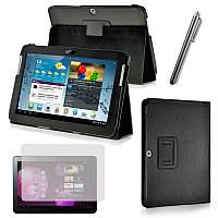 Чехол книжка для Samsung Galaxy Tab 2 P5100/ P5110 кожаный черный 10.1