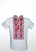 Біла футболка вишита червоно-чорним хрестиком