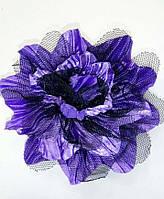 Заколка Фиолетовый цветок с чёрным фатином, брошь